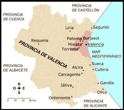 Mapa de Valencia - Comunidad Valenciana